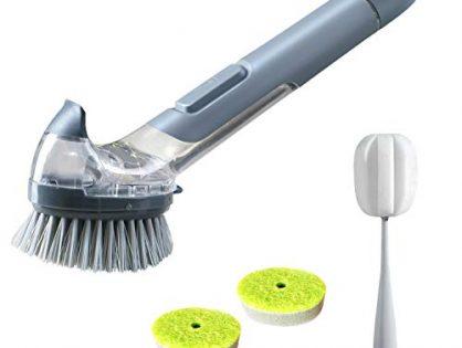 JEHONN Dish Brush with Soap Dispenser Pot Scrubber Kitchen Sink Pan Brush, Bottle Brush and 2 Sponge Refill