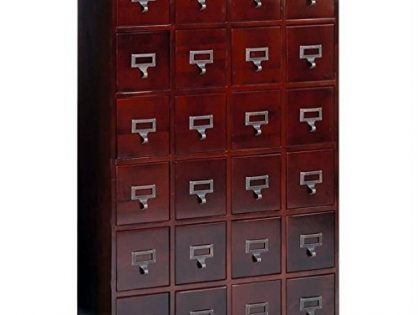 Leslie Dame Solid Oak Library Card File Media Cabinet, 24 Drawers, Cherry