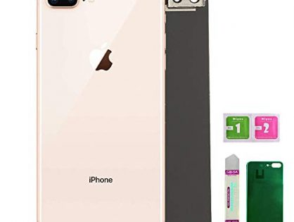 OEM Replacement Back Glass Cover Back Battery Door Installed Camera Frame Lens Replacement for iPhone 8 Plus Gold