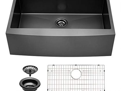 SAB3622R1 - Sarlai 36 inch Farmhouse Sink Matte Black Apron Front Single Bowl 16 gauge Stainless Steel Kitchen Sink