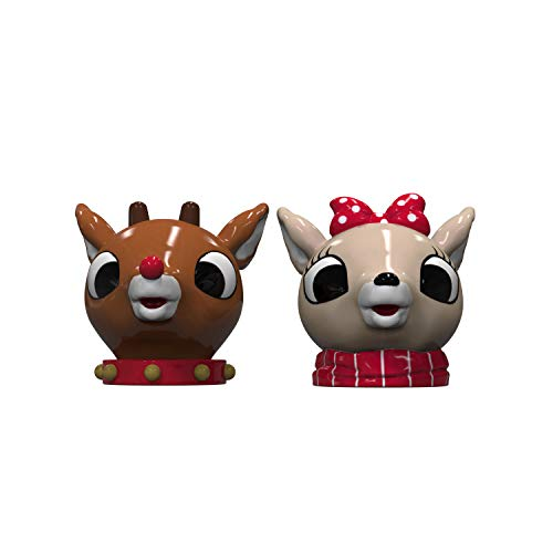 Zak Designs Rudolph the Red-Nosed Reindeer Sculpted Ceramic Salt and Pepper Shaker 2-piece Set Box, Collectible Keepsake for Xmas or Holiday Present Rudolph & Clarice, 2pc, BPA-Free