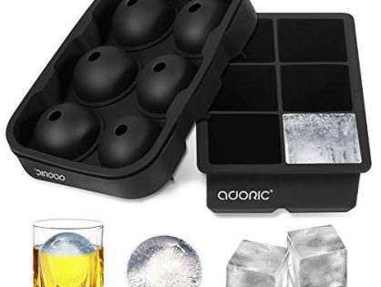 Adoric Ice Cube Trays Silicone Set of 2, Sphere Ice Ball Maker with Lid and Large Square Ice Cube Molds for Whiskey, Reusable and BPA Free Ice Cube Trays Silicone Set of 2