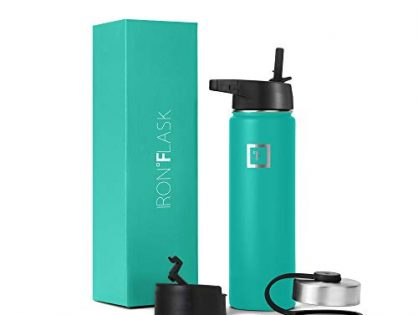 Iron Flask Sports Water Bottle - 22 Oz, 3 Lids Straw Lid, Vacuum Insulated Stainless Steel, Hot Cold, Modern Double Walled, Simple Thermo Mug, Hydro Metal Canteen Aquamarine