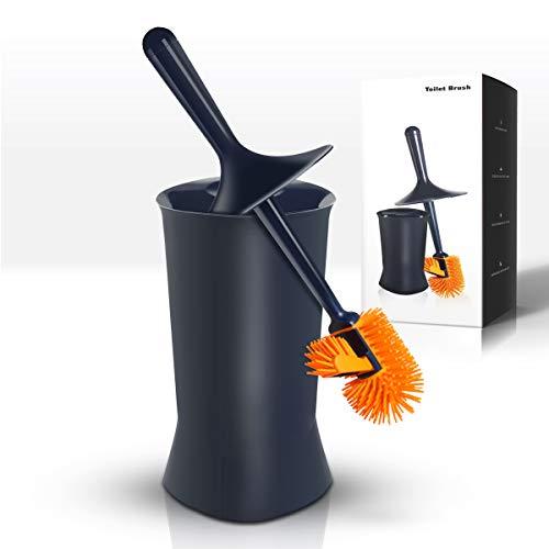 JOOMOON Bathroom Toilet Brush and Holder Set with Lid Anti-Splash, Silicone Bristles, Modern Design with Rim Lip Brush, Space Saving Deep Cleaning Longer Handle, Navy Blue Toilet Bowl Brush