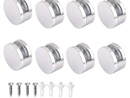 Wide Mirror Clip Set,Glass Shelf Bracket 8PCS, Polished Chrome
