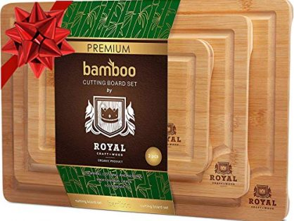 Organic Bamboo Cutting Board with Juice Groove 3-Piece Set - Best Kitchen Chopping Board for Meat Butcher Block Cheese and Vegetables | Anti Microbial Heavy Duty Serving Tray w/Handles