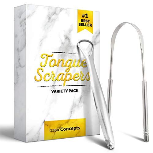 Tongue Scraper 2 Pack, Cure Bad Breath Medical Grade, Stainless Steel Tongue Cleaners, 100% BPA Free Metal Tongue Scrapers Fresher Breath in Seconds