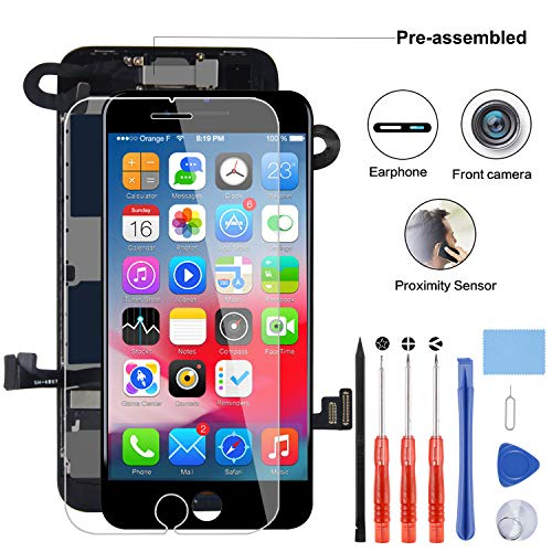 """YPLANG Compatible with iPhone 8 Screen Replacement Black4.7"""",LCD Display 3D Touch Screen Digitizer with Proximity Sensor,Front Facing Camera& Earpiece Speaker"""