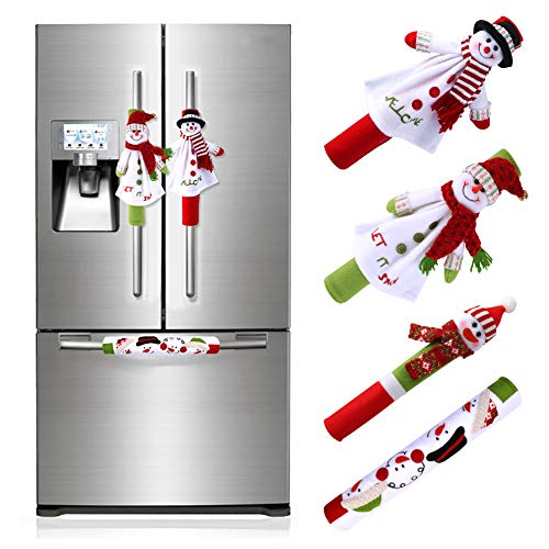 Aytai 4pcs Christmas Fridge Handle Covers Snowman Refrigerator Door Handle Cover Kitchen Appliance for Christmas Decorations