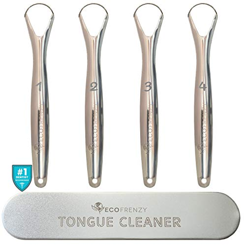 Tongue Scraper 4-pack, Medical Grade Stainless Steel Tongue Cleaner. Individually Numbered. Includes Free Tin Metal Travel Case. - EcoFrenzy