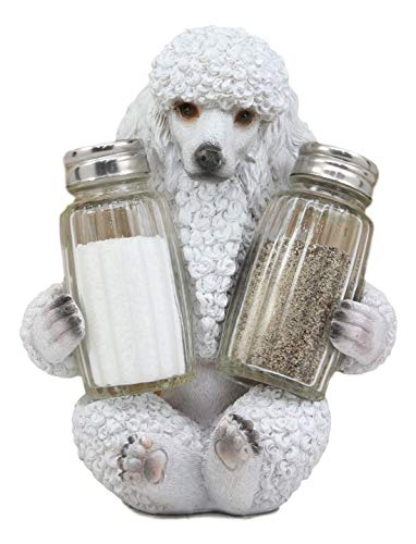 """Ebros Realistic Groomed White French Poodle Puppy Dog Glass Salt And Pepper Shakers Holder Figurine 6.25""""Tall Whimsical Hugging Poodles Pet Memorial Animal Dogs Decor Statue"""