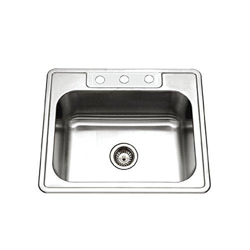 Houzer 2522-9BS3-1 Glowtone Series Topmount Stainless Steel 3-hole Single Bowl Kitchen Sink, 9-Inch Deep