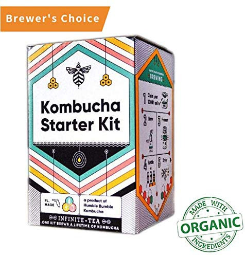 Including 1 gallon glass jar, SCOBY, Tea, Organic Sugar and Guide to Brewing, White - Craft A Brew Starter Complete Kombucha Making Kit