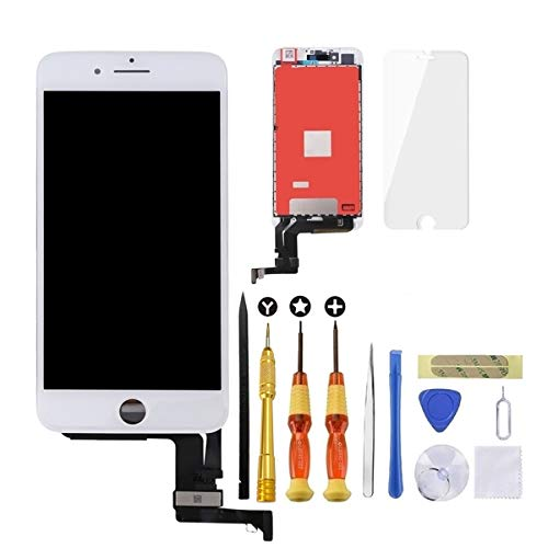 USlansis iPhone 8 Plus Screen Replacement 3D Touch Screen Glass Digitizer Frame Assembly Set with Tempered Glass Screen Protector + Repair Tools + Instruction 5.5 Inch White