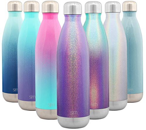 Stainless Steel Double Wall Vacuum Insulated Metal Reusable - Simple Modern 25 Ounce Wave Water Bottle - Leakproof Shimmering: Kunzite