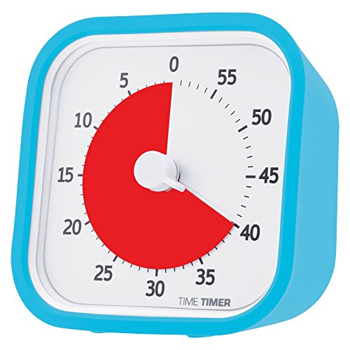 Time Timer MOD Sky Blue, 60 Minute Visual Analog Timer, Optional Alert On/Off, No Loud Ticking; Time Management Tool