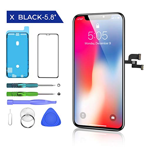 """HTECHY Replacement for iPhone X Screen Replacement Black5.8"""" 3D Touch Display LCD Digitizer Assembly Set with Waterproof Frame Adhesive Sticker + Repair Tools Kit Screen Protector"""