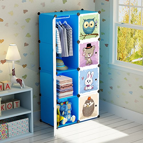 MAGINELS Portable Kid Organizers and Cute Baby Storage Organizer Clothes Wardrobe Cube Closet MultiFuncation Bedroom Armoire Children Dresser Rack Blue Forest Animal 6 Cube &1 Hanging Section