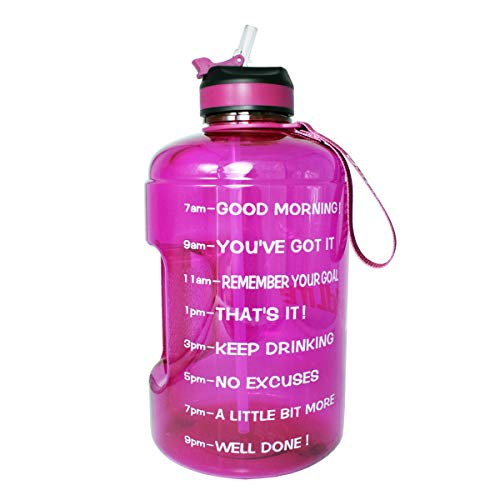 BuildLife Gallon Motivational Water Bottle with Time Marked to Drink More Daily and Nozzle,BPA Free Reusable Gym Sports Outdoor Large128OZ CapacityPurple, 1 Gallon