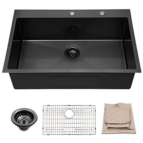 Lordear 33 Inch Drop-in Topmount Kitchen Sink 16 Gauge R10 Tight Radius Stainless Steel Deep Single Bowl Kitchen Sink,Matte Black