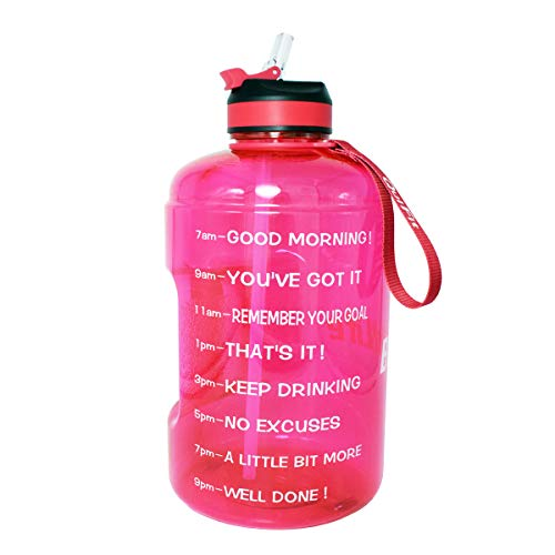 BuildLife Gallon Motivational Water Bottle with Time Marked to Drink More Daily and Nozzle,BPA Free Reusable Gym Sports Outdoor Large128OZ CapacityPink, 1 Gallon