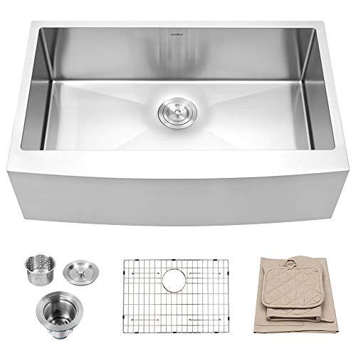 Lordear 30 Inch Farmhouse Kitchen Sink 16-Gauge Stainless Steel Apron Front Deep Single Bowl Sink