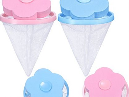 4 Pieces Reusable Washing Machine Lint Catcher Household Washing Machine Lint Mesh Bag Hair Filter Net Pouch Washer Hair Catcher Blue, Pink