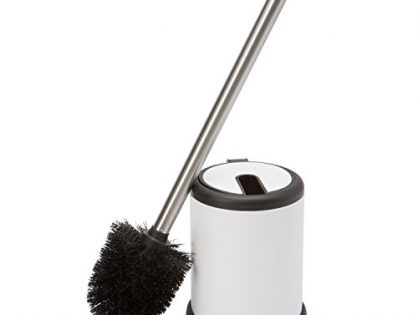 Bath Bliss Toilet Bowl Brush and Holder with Self Closing Lid, Space Saver, Deep Cleaning, Finger Print Proof Finish, Hygienic, White