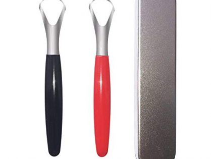 Stainless Steel Tongue Scraper Cleaner, Fresh Breath Tongue Scrapers Medical Grade Metal Tongue Scraping Cleaner with Carrying Case for Oral Care Better Dental Hygiene Pack of 2