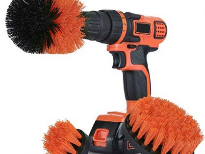 Drill Brush Attachment Set for Cleaning - All Purpose Power Scrubber Drill Brush for Bathroom Surface, Grout, Tub, Shower, Kitchen, Floor and Upholstery - Medium, Tangerine