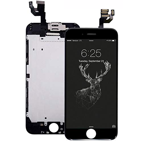 Pre-Assembled Screen Replacement for iPhone 6 Plus Black, LCD Display and Touch Screen Digitizer Replacement for A1522, A1524, A1593w/Facing Proximity Sensor, Ear Speaker, Front Camera and Repair Tool
