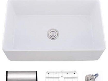 "Bokaiya 33"" White Farmhouse Apron Front Fireclay Sink Porcelain Ceramic Vitreous Single Bowl Kitchen Sink"