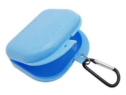 AIWAYING Retainer Case Mouth guard Denture Box with Carabiner Clip Blue