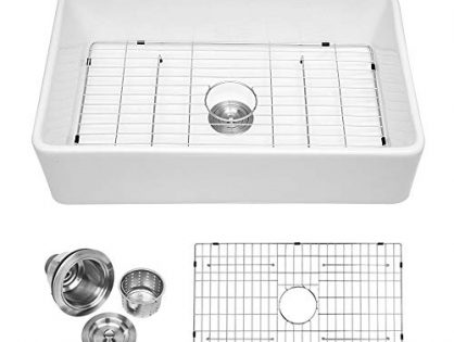 """Logmey 33"""" Single Bowl Farmhouse White Porcelain Ceramic Apron-Front Fireclay Kitchen Sink"""