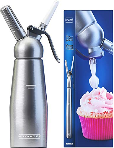 Uses Standard N20 Cartridges not included - Professional Aluminum Whipped Cream Dispenser With 3 Decorating Nozzles - Nuvantee Cream Whipper 1-Pint
