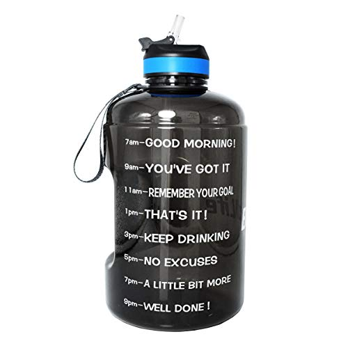 BuildLife 43OZ Motivational Water Bottle with Time Marked to Drink More Daily and Nozzle,BPA Free Reusable Gym Sports Outdoor Large Capacity Black, 43OZ