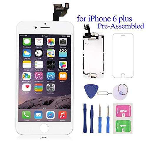 Pre-Assembled for iPhone 6 Plus Screen Replacement White 5.5 LCD Touch Digitizer Display with Front Camera+Ear Speaker+Facing Proximity Sensor with Repair Tool A1524 A1522 A1593
