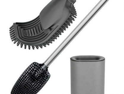 VENETIO Toilet Brush with Holder for Bathroom Cleaning, Stainless Steel Toilet Bowl Brush with TPR Soft Brush Head, Compact Design, Black-Sliver Color