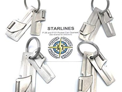 Starlines-4 Sets of P-38 + P-51 Military Can Openers, Made in USA, with Stainless Steel Key Ring 12 piece bundle With Starlines Instructions Card