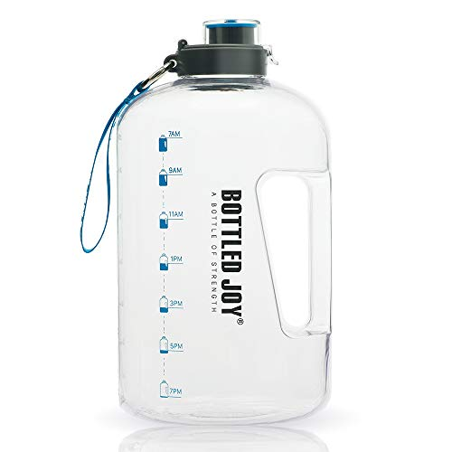 BOTTLED JOY 1 Gallon Water Bottle, BPA Free Large Water Bottle Hydration with Motivational Time Marker Reminder Leak-Proof Drinking Big Water Jug for Camping Sports Workouts and Outdoor Activity
