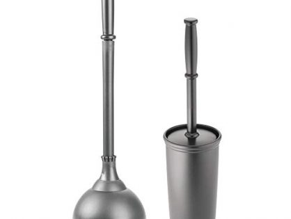 Charcoal Gray - mDesign Modern Slim Compact Freestanding Plastic Toilet Bowl Brush and Plunger Combo Set with Holder for Bathroom Storage - Sturdy, Heavy Duty, Deep Cleaning