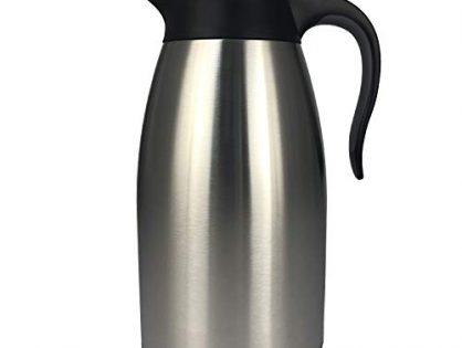 Double Wall Vacuum Insulated Tea Beverage Creamer Dispenser - Stainless Steel Server Pitcher Flask - Large Thermal Coffee Carafe Thermos 2L/68Oz - Lab-Tested Hot and Cold Water Jug Pot by Coffmax