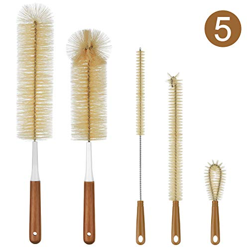 Long Bamboo Handle Water Bottle Straw Cleaning Brush for Washing Narrow Neck Beer Wine Decanter, Baby/Sports Bottle, Kombucha,Thermos, Contigo, HydroFlask - ALINK 5-Pack Bottle Brush Cleaner