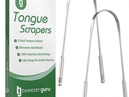 Eliminate Bad Breath with Your Very Own Tongue Sweeper Today 2-Pack - Perfect Tool for Oral Hygiene - No Mold Buildup - Tongue Scraper - Professional Stainless Steel Tongue Cleaner by Tweezer Guru
