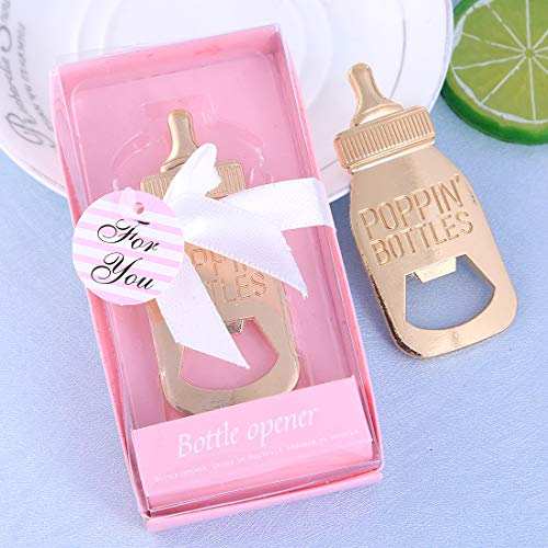 Yuokwer 24 pcs Bottle Opener Baby Shower Favor for Guest,Rose Gold Feeding Bottle Opener Wedding Favors Baby Shower Giveaways Gift to Guest, Party Favors Gift & Party Decorations Supplies Pink, 24