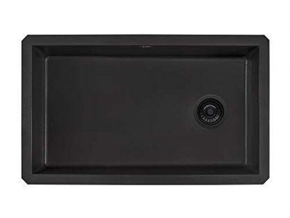 RVG2033BK - Ruvati 32 x 19 inch Undermount Granite Composite Single Bowl Kitchen Sink - Midnight Black