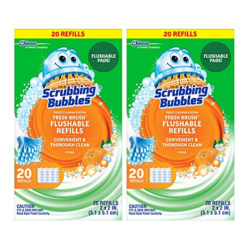Scrubbing Bubbles Fresh Brush Flushable Refills, Citrus, 40 Refill Pads, 2 Pack