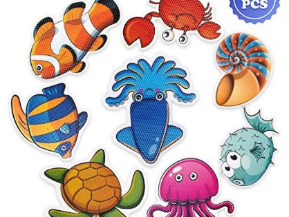 PGFUN 20 PCS Anti Slip Stickers Cute Sea Creature Non Slip Stickers Tub Tattoos Bath Decals Adhesive Appliques for Bathtub,Shower and Other Slippery Surfaceswith Scraper