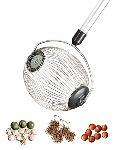 "Pick up Pecans, Lg Acorns, Pecan Nuts, Crab Apples, Nerf Darts and Other 3/4""to 1/2"" Sized Objects, Silver - SANDEGOO Garden Medium nut gatherer"