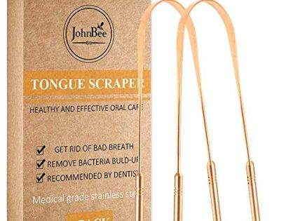 Tongue Scraper2-pack. The Best Tounge Scraper Cleaner Ever! Design In The USA. Bad Breath Treatment Medical Grade. Excellent Copper Tongue Scrapers For Adults.